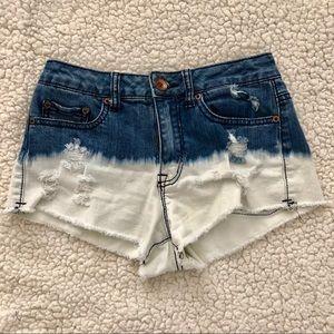 Ombre Bleach Distressed Denim Shorts